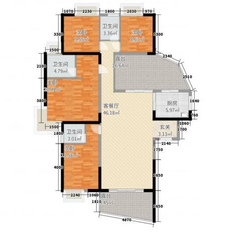 海岸南山4室1厅3卫1厨181.00㎡户型图