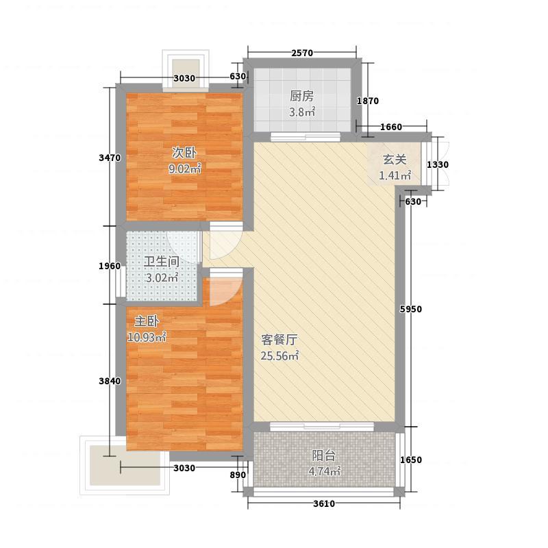 阳光枫情6.00㎡户型2室