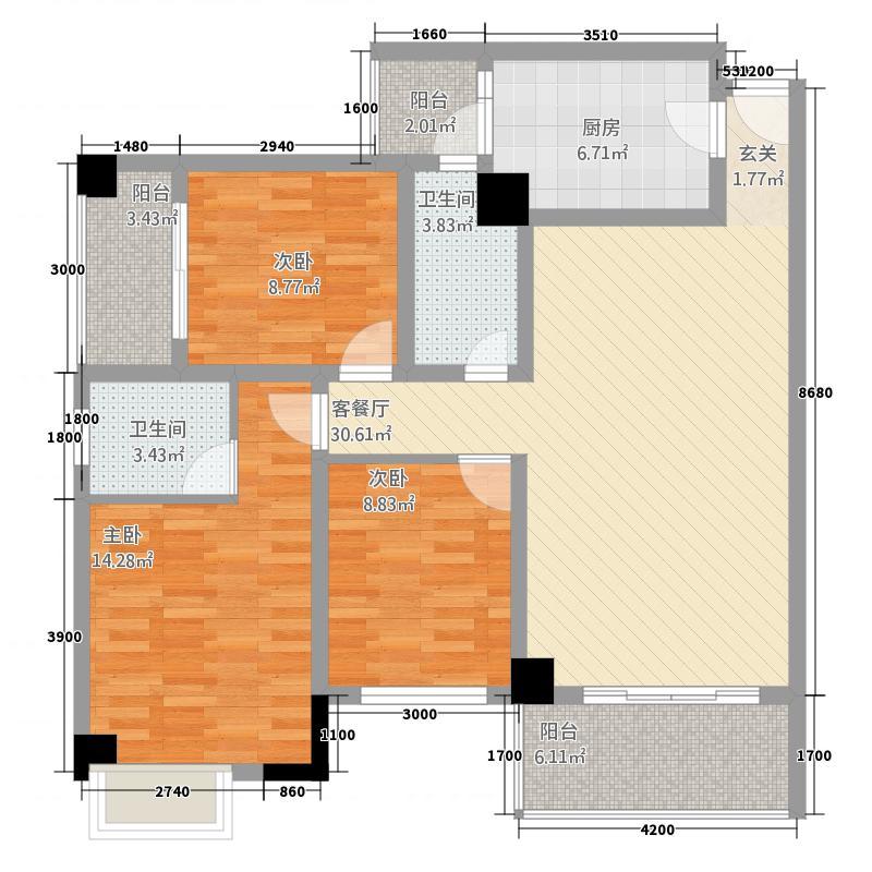 中央广场18.00㎡C5户型3室2厅2卫
