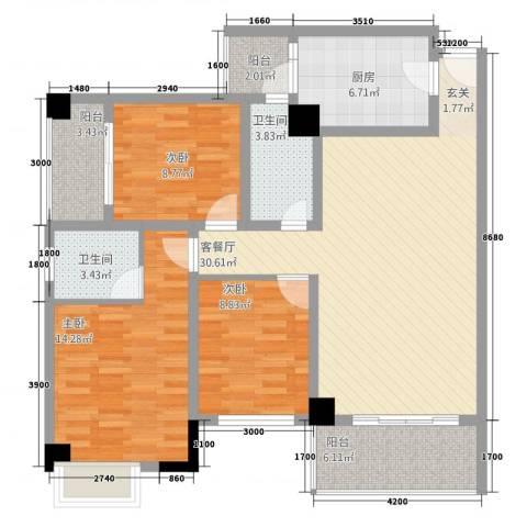 中央广场3室1厅2卫1厨88.02㎡户型图