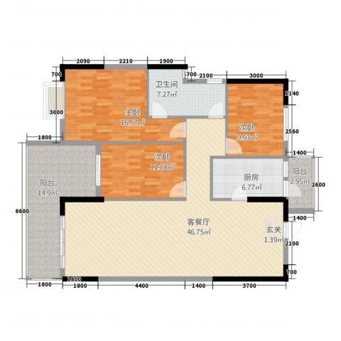 永发大厦3室1厅1卫1厨160.00㎡户型图