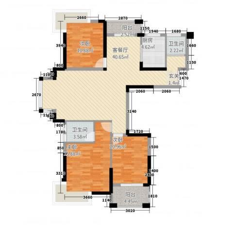格林公馆3室1厅2卫1厨136.00㎡户型图