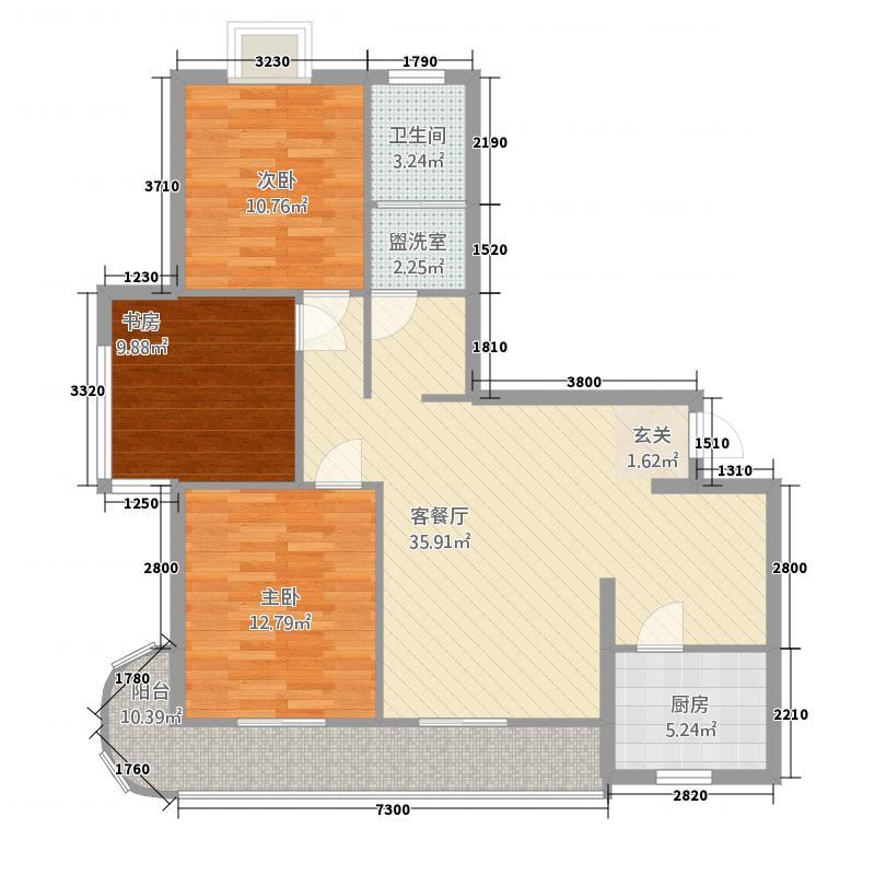 恒达华府115.00㎡A户型3室2厅1卫1厨