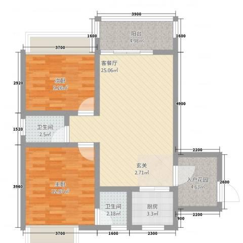 公园1号2室1厅2卫1厨86.00㎡户型图