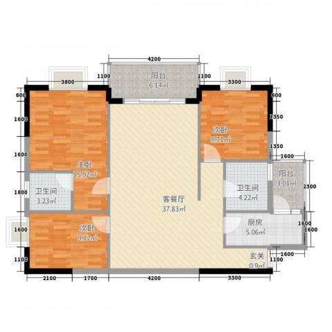 永发大厦3室1厅2卫1厨131.00㎡户型图