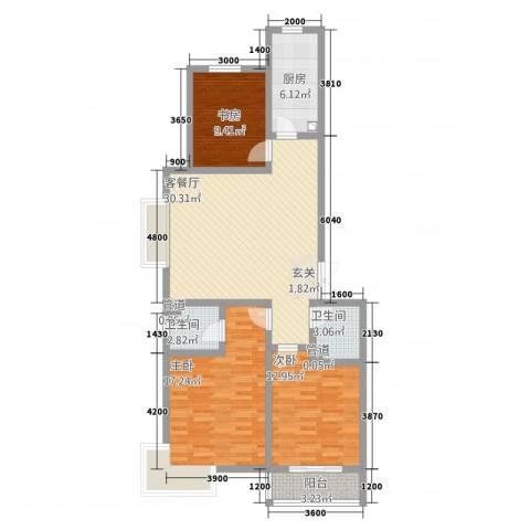 维多利亚夏郡3室1厅2卫1厨136.00㎡户型图