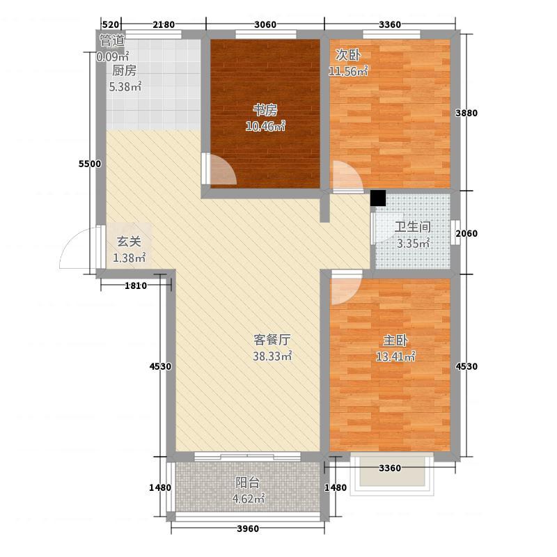 府街新城南区12-a户型3室2厅1卫1厨