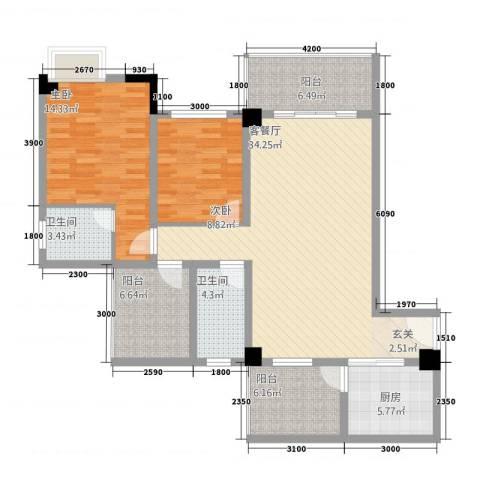 中央广场2室1厅2卫1厨90.18㎡户型图