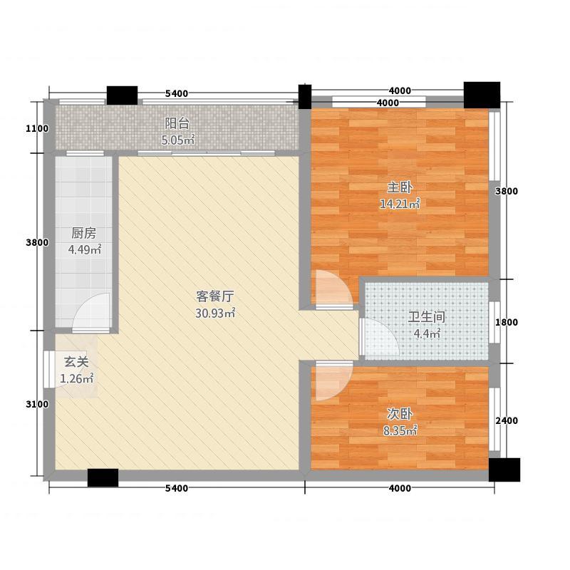 龙华园78.77㎡A户型2室2厅1卫1厨
