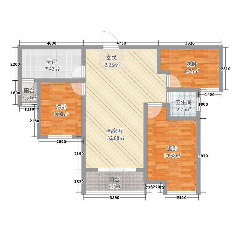 泰宏・阳光城117.70㎡A户型3室2厅1卫1厨