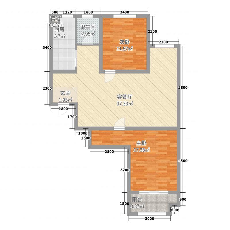 颍汇家和公馆16.30㎡B户型2室2厅1卫1厨