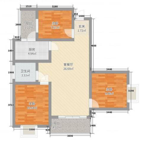 建业・阿里阳光3室1厅1卫1厨69.75㎡户型图