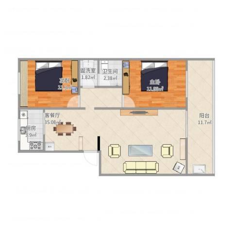 红园小区2室2厅1卫1厨105.00㎡户型图