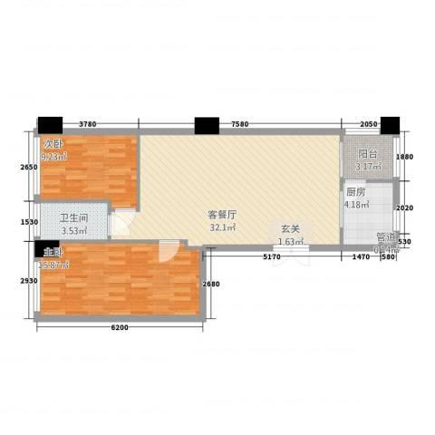 世纪海岸花园2室1厅1卫1厨68.22㎡户型图