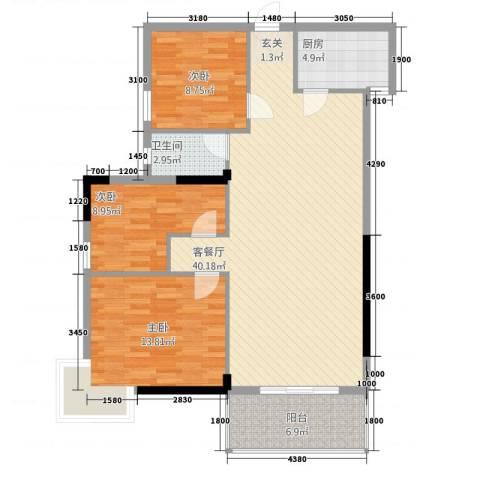 金厦商住楼3室1厅1卫1厨120.00㎡户型图