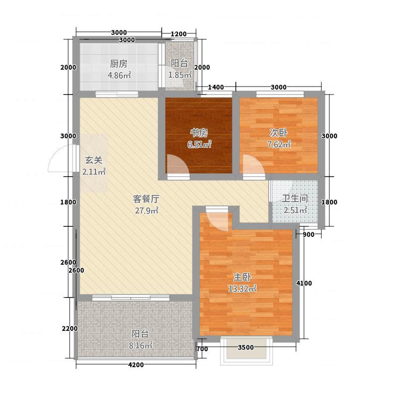科大美林87.10㎡K户型3室2厅1卫1厨