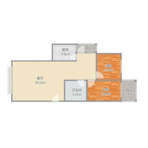 绿家园2室1厅1卫1厨71.80㎡户型图