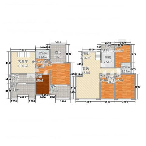 东方花城5室2厅2卫1厨176.68㎡户型图