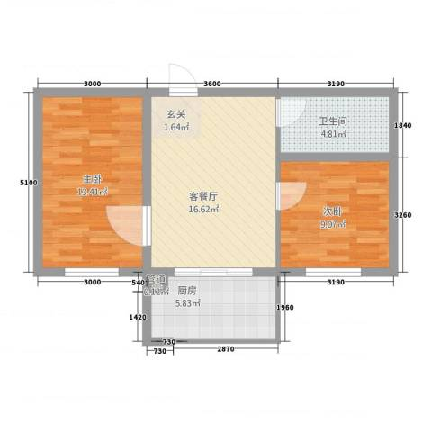 福宁雅居2室1厅1卫1厨56.96㎡户型图