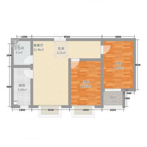 维多利亚夏郡2室1厅1卫1厨56.84㎡户型图