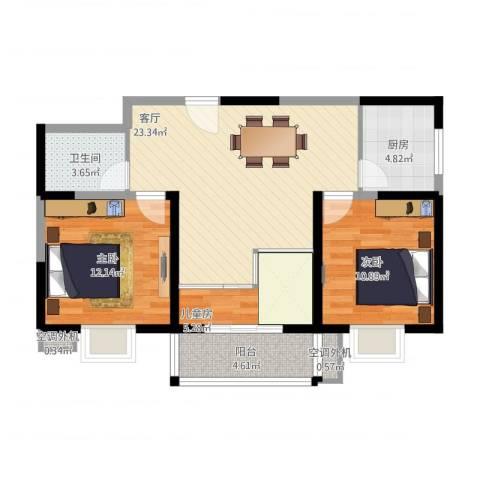 东城国际3室1厅1卫1厨95.00㎡户型图