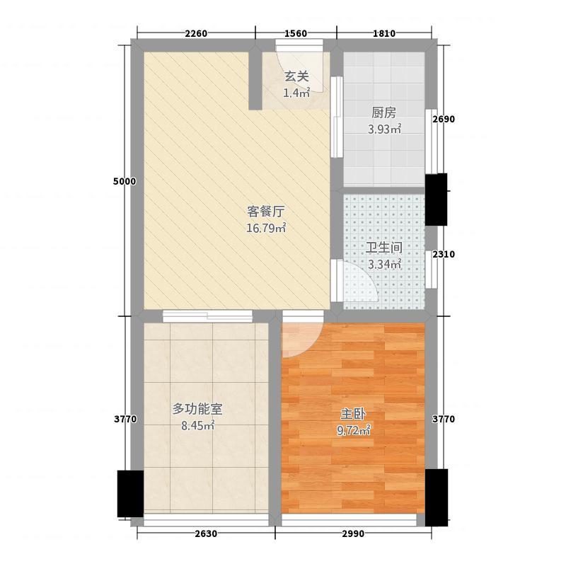 花园崇尚国际56.10㎡A7户型1室2厅1卫