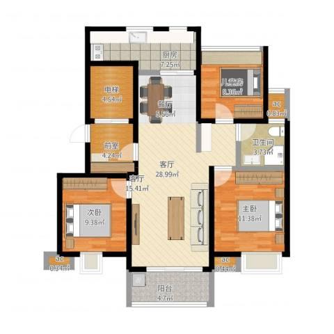 复地新都国际3室1厅1卫1厨103.00㎡户型图