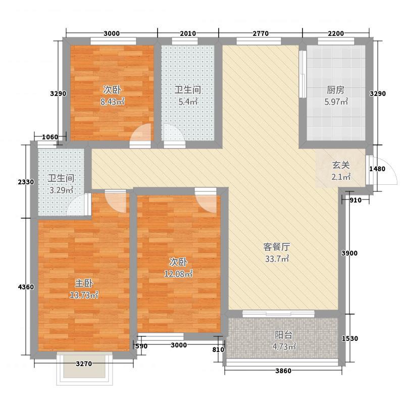 泰宏・阳光城126.00㎡B户型3室2厅2卫1厨