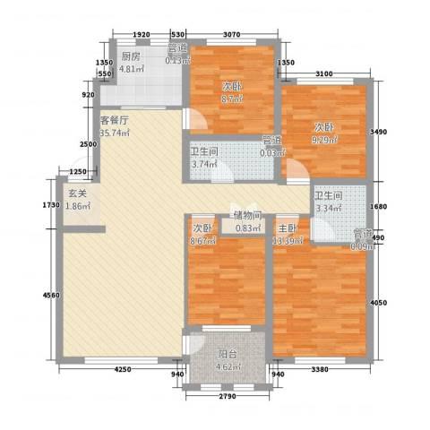 筑景・蓝河湾4室1厅2卫1厨134.00㎡户型图
