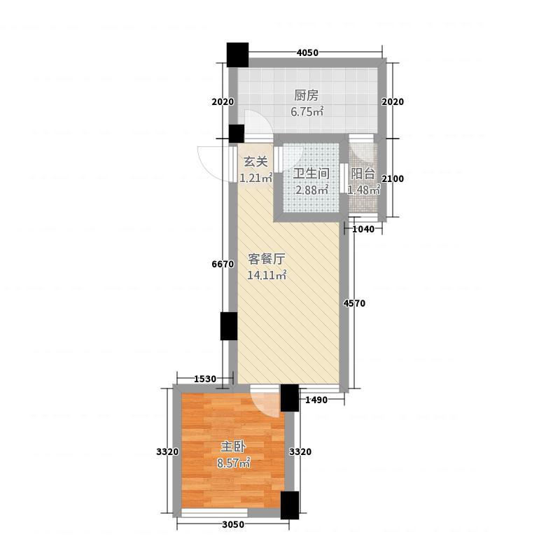 花园崇尚国际46.23㎡C4户型1室2厅1卫