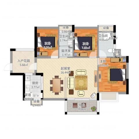尚书悦府3室1厅4卫1厨109.00㎡户型图