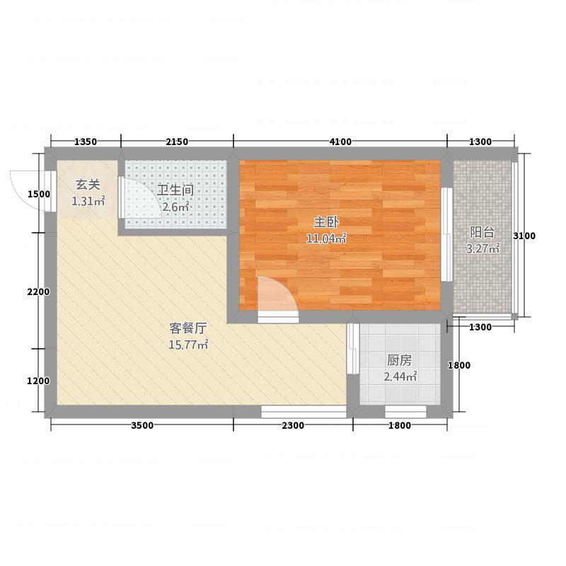 百佳宏业商城47.10㎡F户型1室2厅1卫1厨