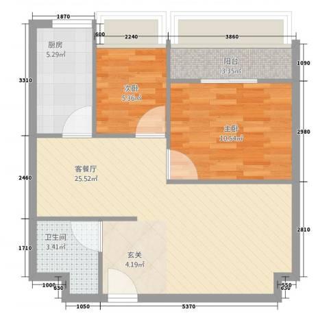 铂金公馆2室1厅1卫1厨75.00㎡户型图