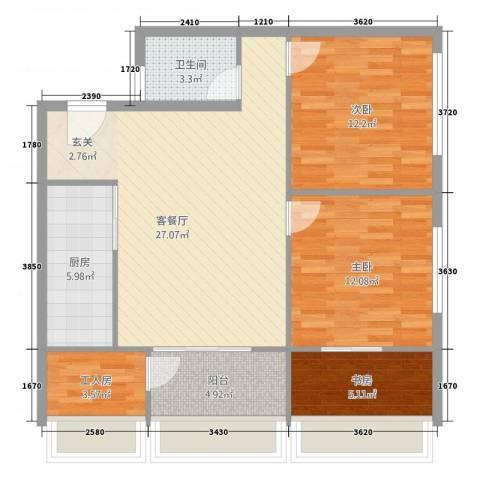 铂金公馆3室1厅1卫1厨74.23㎡户型图