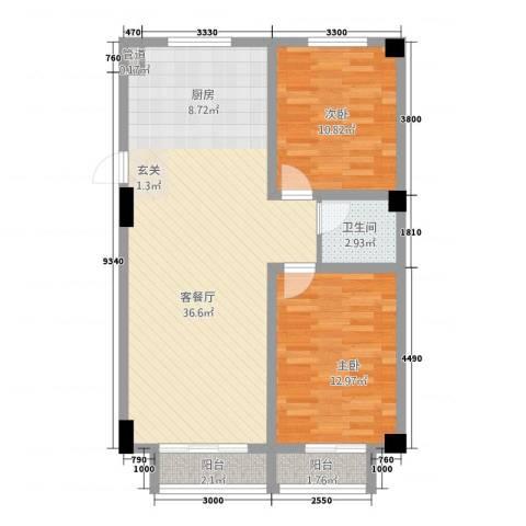 抚顺兴隆摩尔世界2室1厅1卫0厨67.33㎡户型图