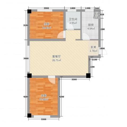 抚顺兴隆摩尔世界2室1厅1卫1厨57.47㎡户型图