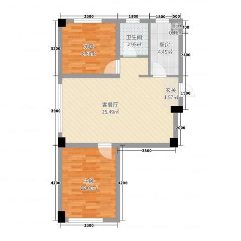 抚顺兴隆摩尔世界2室1厅1卫1厨89.00㎡户型图