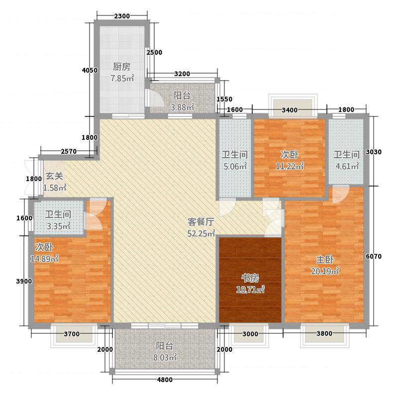 东城・金汇园17.00㎡E户型4室2厅2卫1厨