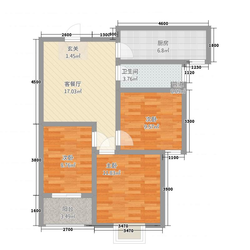 亿博书香苑3室1厅1卫1厨87.00㎡户型图