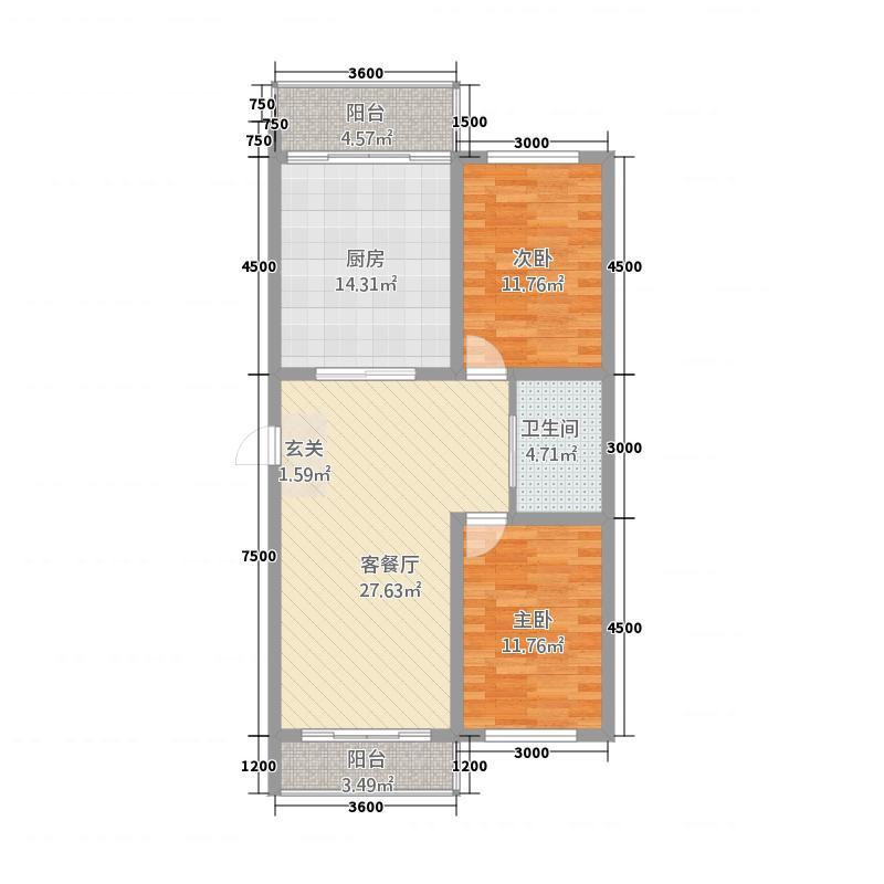 龙城御园13.33㎡1户型2室1厅1卫1厨