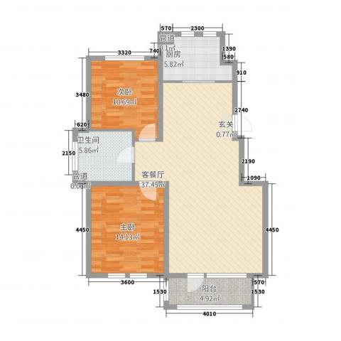 筑景・蓝河湾2室1厅1卫1厨111.00㎡户型图
