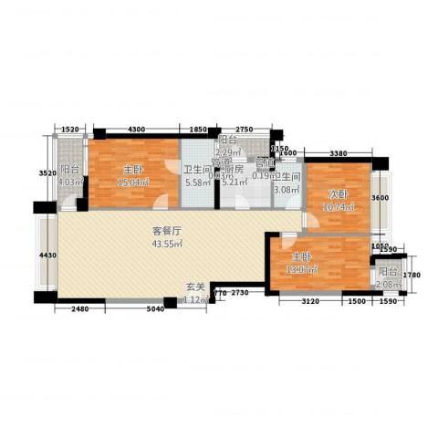 御翠天�3室1厅2卫1厨150.00㎡户型图