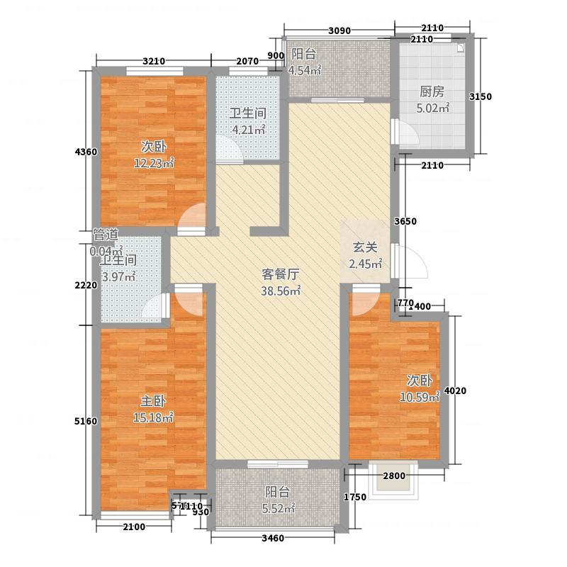 鸿业・文景苑143.77㎡文景苑8户型3室2厅1卫1厨