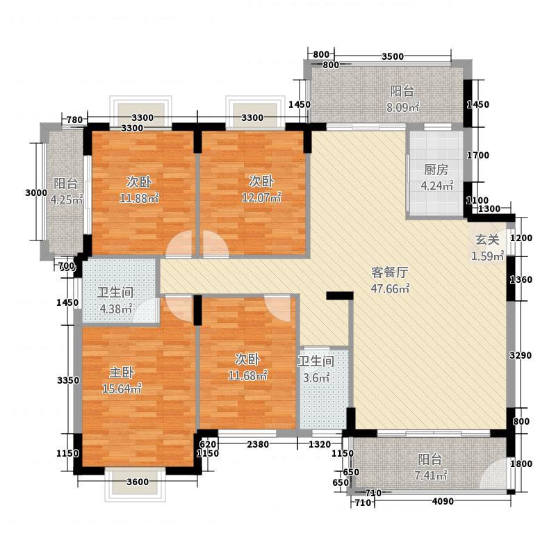 金泰来紫金城5165.68㎡5#C单元4室户型4室2厅2卫1厨