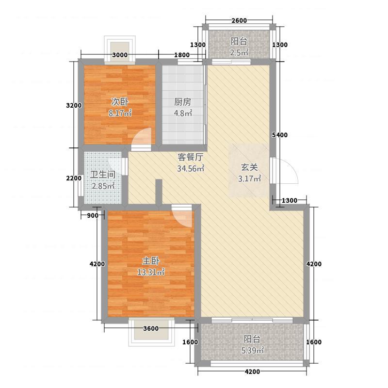 日月星城3.20㎡D户型2室2厅1卫1厨