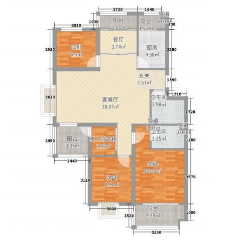 凤凰国际城二期3室2厅2卫1厨125.00㎡户型图