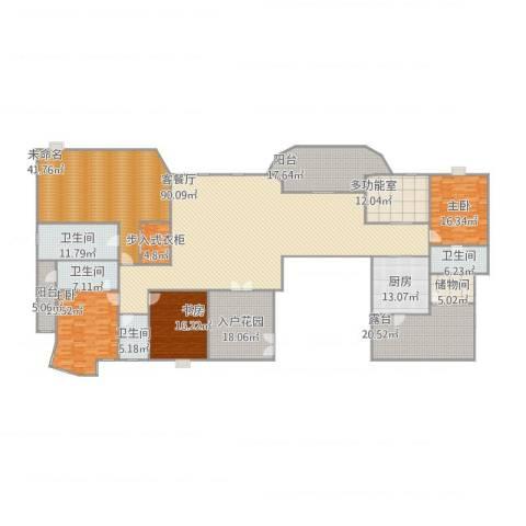 汇景新城上城勋堡3室1厅4卫1厨411.00㎡户型图