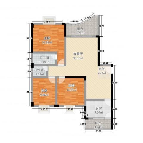 世纪龙城3室1厅2卫1厨140.00㎡户型图