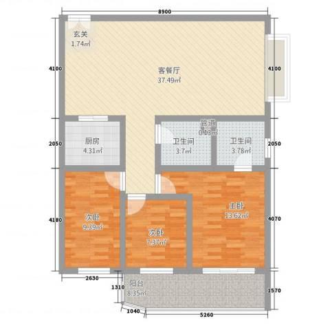 幸福人家3室1厅2卫1厨127.00㎡户型图