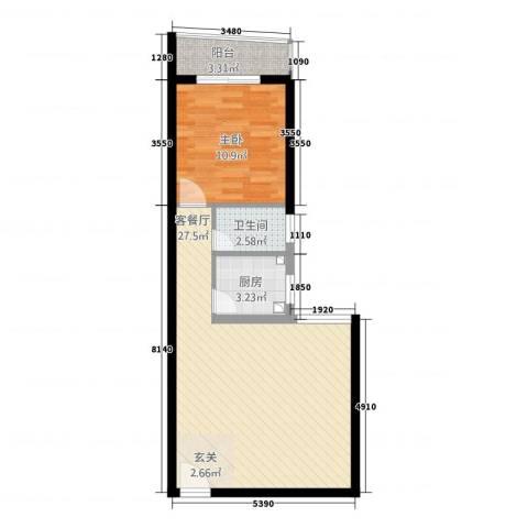 天心电子世界大厦1室1厅1卫1厨68.00㎡户型图